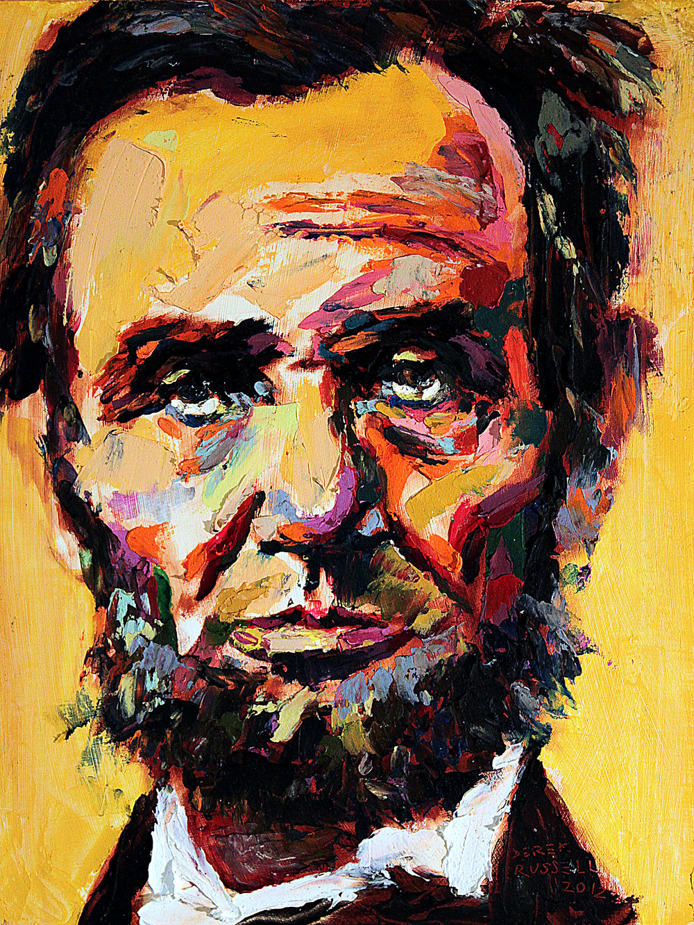 Abraham Lincoln Original Portrait Pop Art Painting by Derek Russell