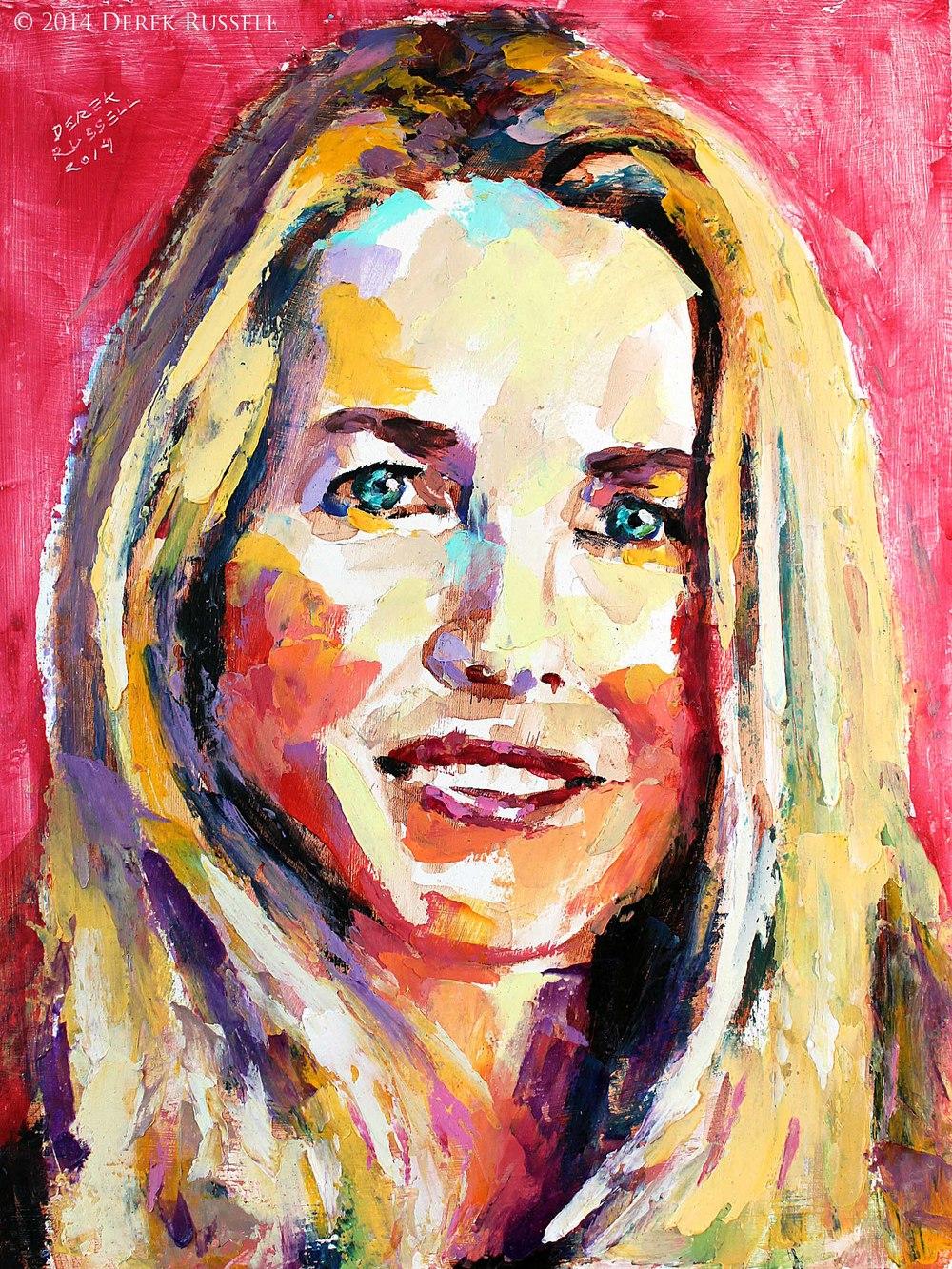 Laurene Powell Jobs Original Portrait Pop Art Painting by Derek Russell