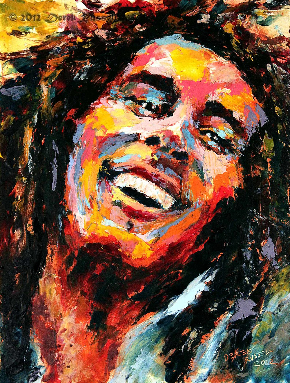 Bob Marley Original Portrait Pop Art Painting by Derek Russell