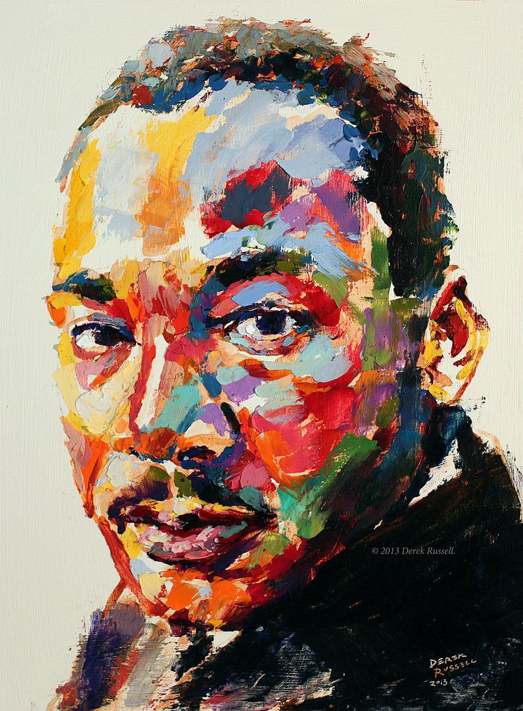 Martin Luther King Jr. Original Portrait Pop Art Painting by Derek Russell