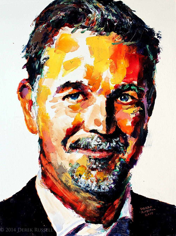 Reed Hastings Original Portrait Pop Art Painting by Derek Russell