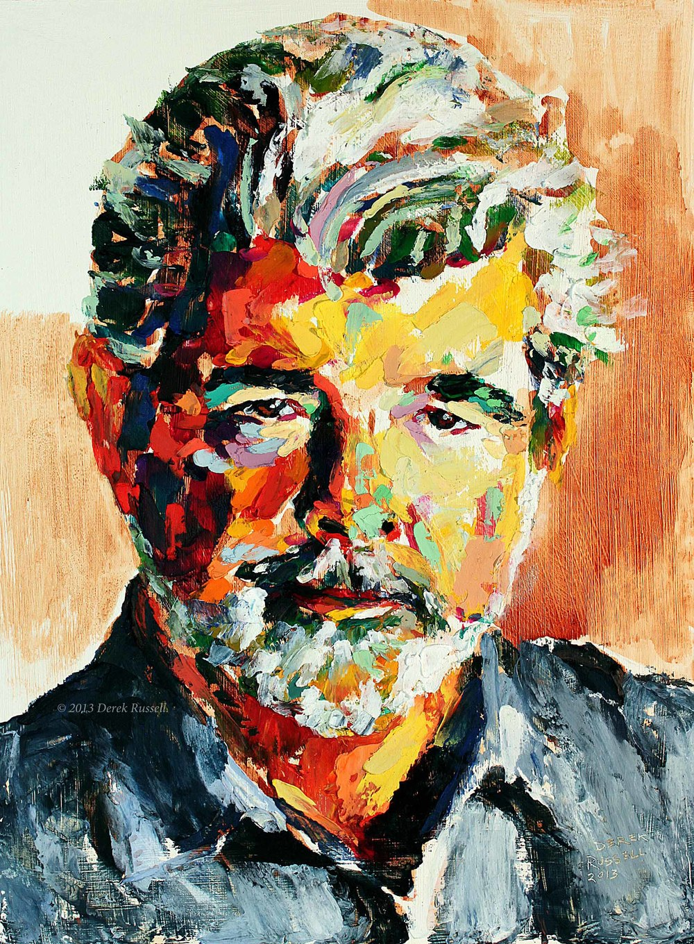 George Lucas Original Acrylic & Oil Portrait Painting by Artist Derek Russell 2013 Copyright.jpg