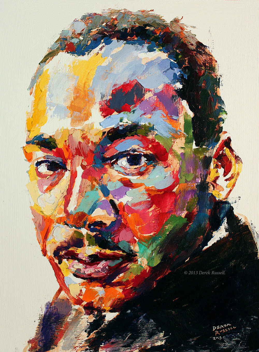 Martin Luther King Jr Original Acrylic & Oil Portrait Painting by Artist Derek Russell 2013 Copyright.jpg