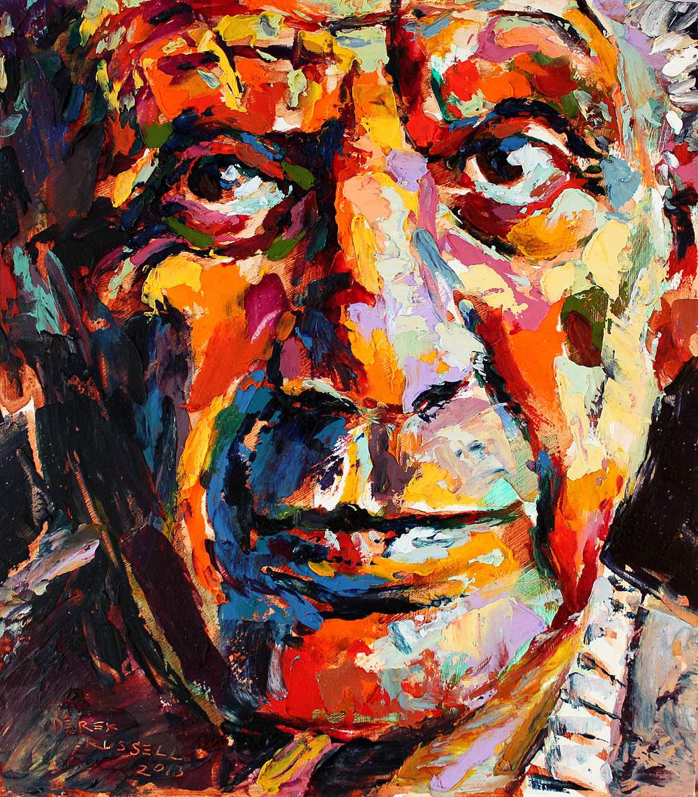 Pablo Picasso Original Acrylic & Oil Portrait Painting by Artist Derek Russell 2013.jpg