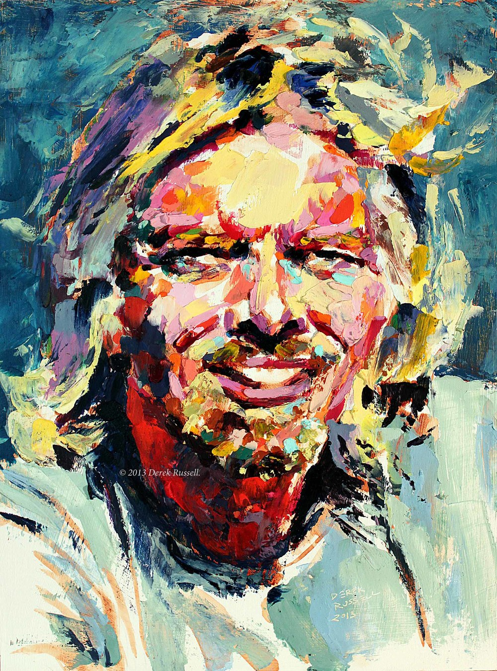 Richard Branson Original Acrylic & Oil Portrait Painting by Artist Derek Russell 2013 Copyright.jpg
