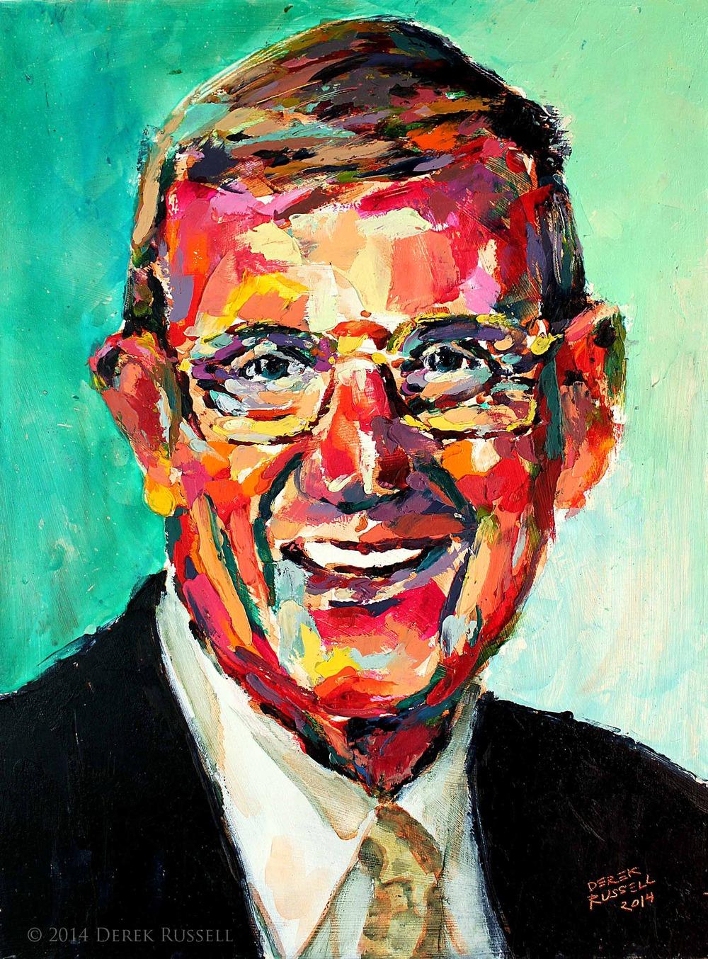 Lou Holtz Original Acrylic & Oil Portrait Painting by Artist Derek Russell 2014 Copyright.jpg