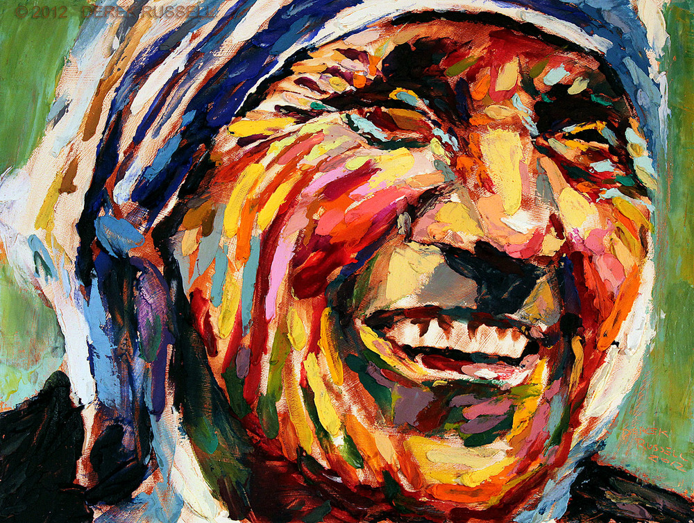 Mother Teresa Original Oil and Acrylic Portrait Painting by Artist Derek Russell