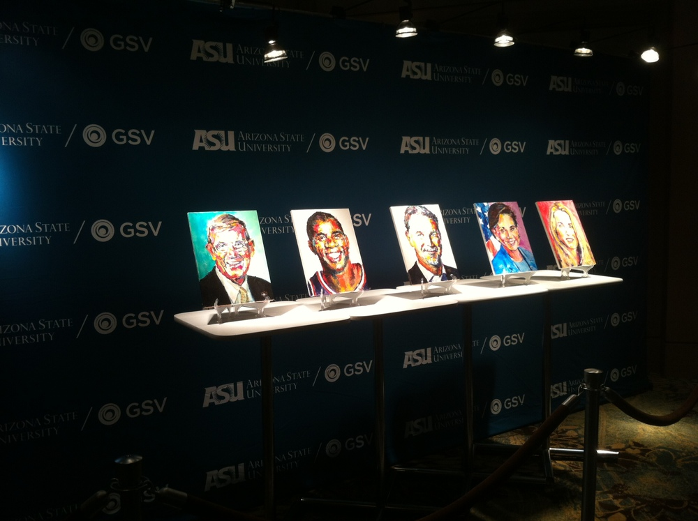 5 of my paintings on display at the GSV + ASU Education Innovation Summit in Scotsdale, AZ