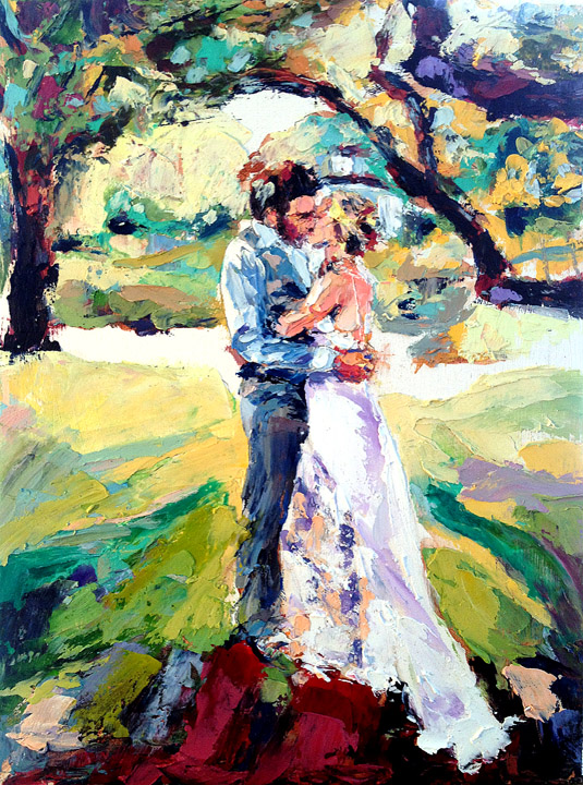"""Ayla & Dave Wedding Painting"", 12""x16"", 2014, oil on board"