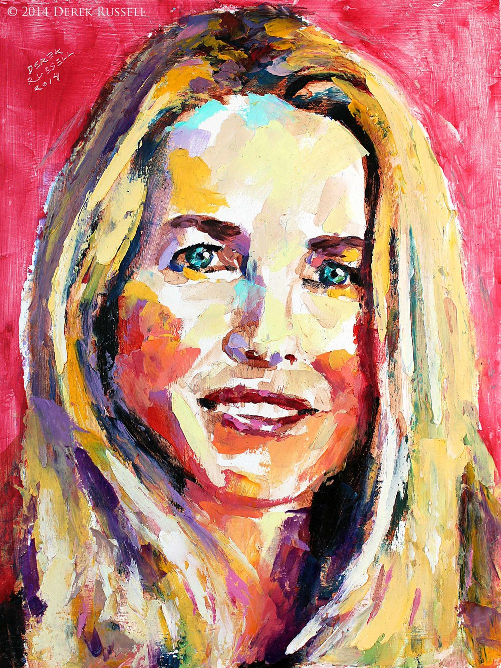"""Laurene Powell Jobs"", 12""x16"", 2014, oil on board"