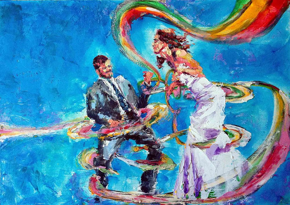"""Samantha & Steve Wedding Painting"", 12""x16"", 2014, oil on board"