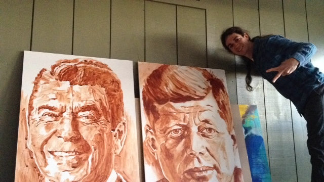 Derek Russell paintings of JFK and Ronald reagan