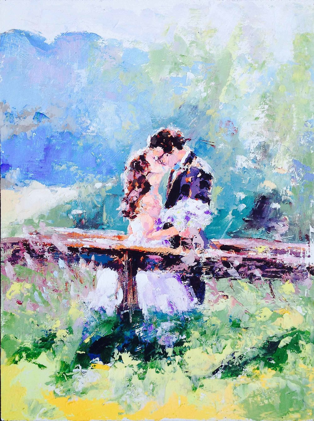 Lindsay & Stuart - Outdoor Wedding Painting, Bend, Oregon