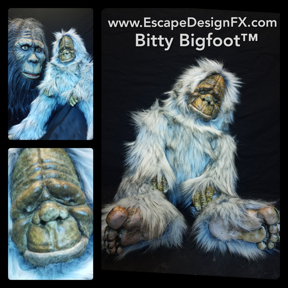 Bitty Bigfoot™ Is the latest creation by creature designer Russ Adams. This critter is handmade. The face, hands, and feet were sculpted  molded, cast, and hand painted by Russ Adams. The body is an original design with hand stitched fur. Looking for an extremely cute, original gift? Look no further.  Click for more information.
