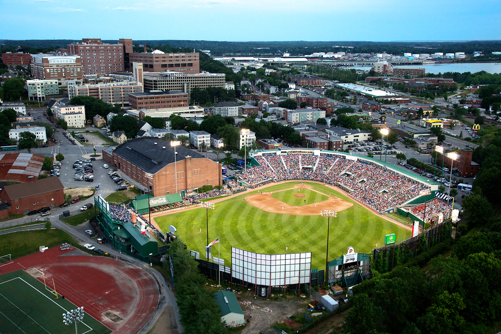A twilight shot of Hadlock Field, home of the Portland Seadogs, the AA affiliate of the Boston Red Sox. Shot from a helicopter, using a two axis, Kenyon Labs gyro stabilizer. Summer of 2012.