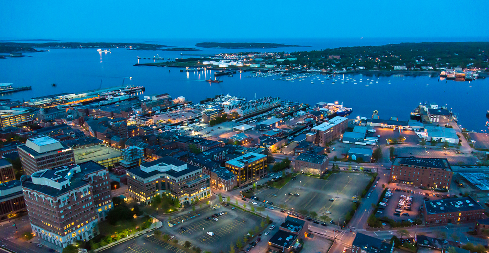 The combination of a two axis gyro stabilizer and the low light capability of the Canon 5DMIII, make shooting excellent quality high resolution images and video at night possible. Portland, Maine. Summer of 2013.