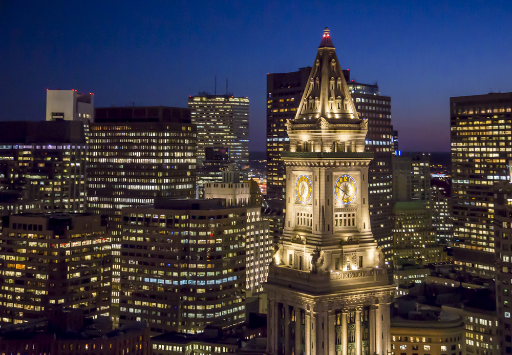 The Custom House Tower at night, shot from a helicopter with a Canon 5DMIII, mounted to a two axis gyro stabilizer.