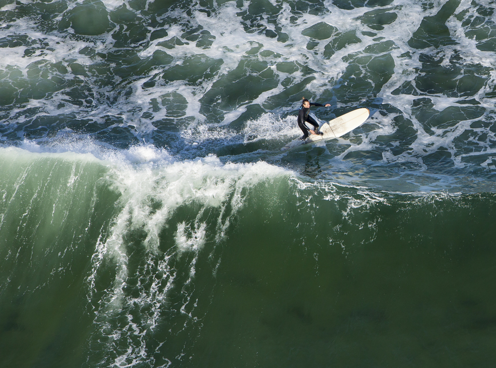 An aerial shot of a surfer, near Kennebunk, Maine.