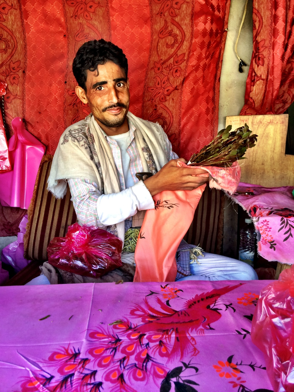 A Qat seller in Sanaa. Photo by: Lucy Kafanov