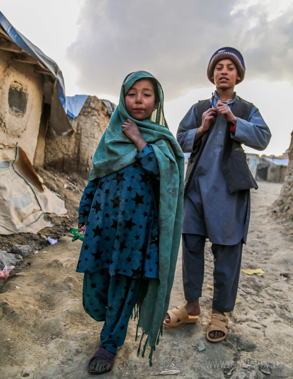Siblings, displaced by war in their native Helmand Province.