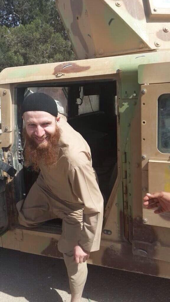From ‏@jenanmoussa: See reaction of military leader of ISIS after inspecting a US made Humvee that his group took from Iraqi forces.