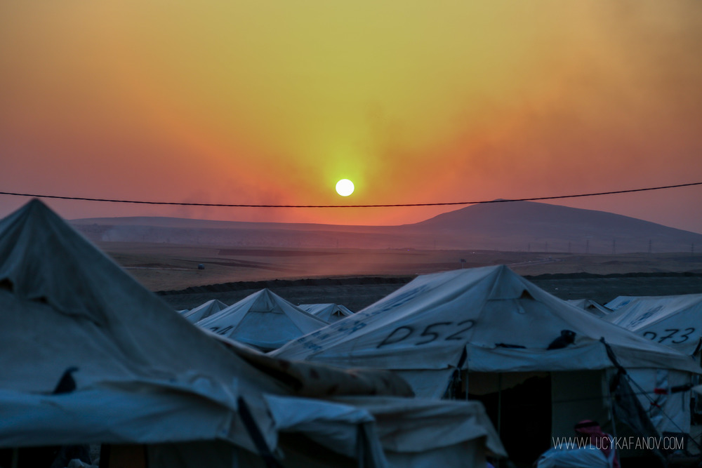 Sunset over the Kalak Refugee camp. Most have been displaced by violence in the ISIS-held city of Mosul. Some fled the militants, others say they sought refuge from Iraqi military bombs.