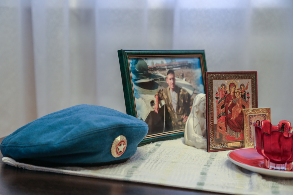 Sergei's mother keeps this small shrine in her living room, dedicated to her fallen youngest son.