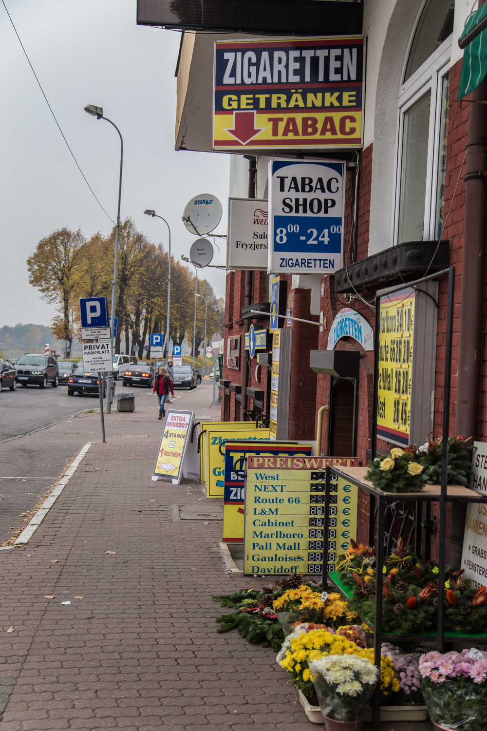 Cigarette shops are the first thing you see in Poland's Slubice.