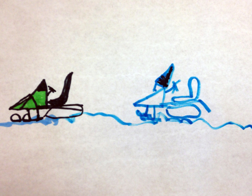 I travelled to schools and libraries in Tuktoyaktuk, Aklavik, Inuvik and Yellowknife. We looked at art and drew together. Almost everyone wanted to draw a snowmobile.