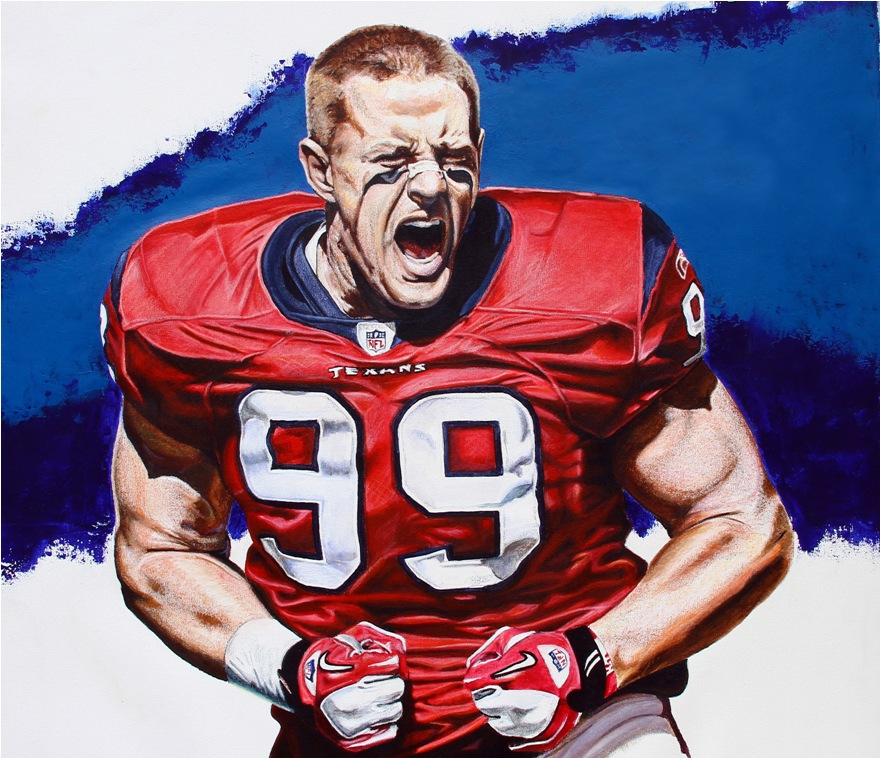 JJ Watt 36 x 34 Acrylic on Canvas $1,200