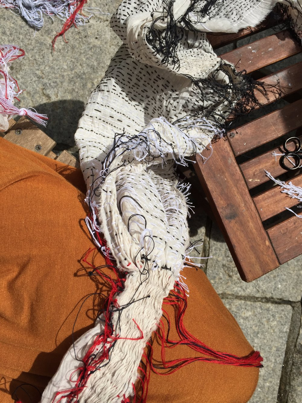 Homeowrk and stitching in preparation for dyeing