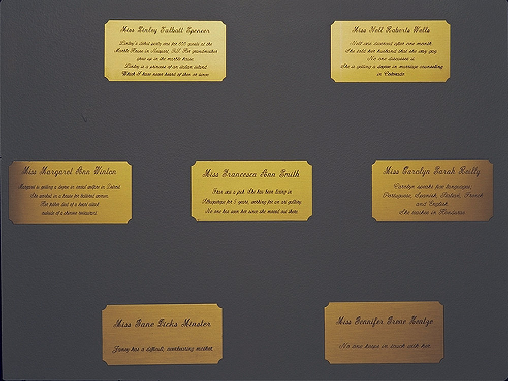 Brass plaques in installation