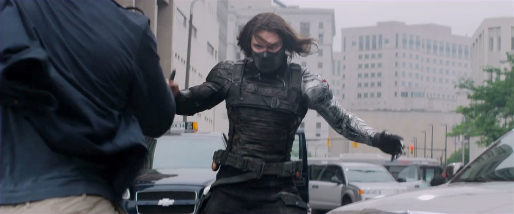 TERRIFYING --  The Winter Soldier is literally one of the BEST VILLAINS Marvel has ever had. Brutal, unstoppable--his moments on screen eclipse that of Tom Hardy's Bane from Dark Knight Rises.