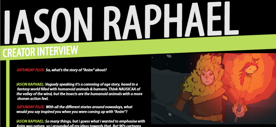 READ A GREAT INTERVIEW with our DESIGNER and FUTURE MANGA SUPERSTAR -- Jason Raphael.