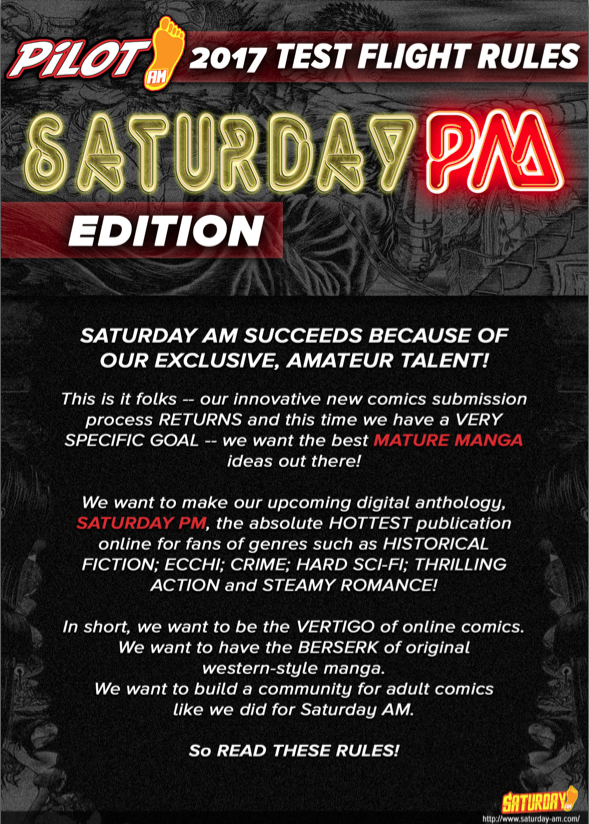 Get the latest rules for our new manga submission for new creators to Saturday AM and Saturday PM