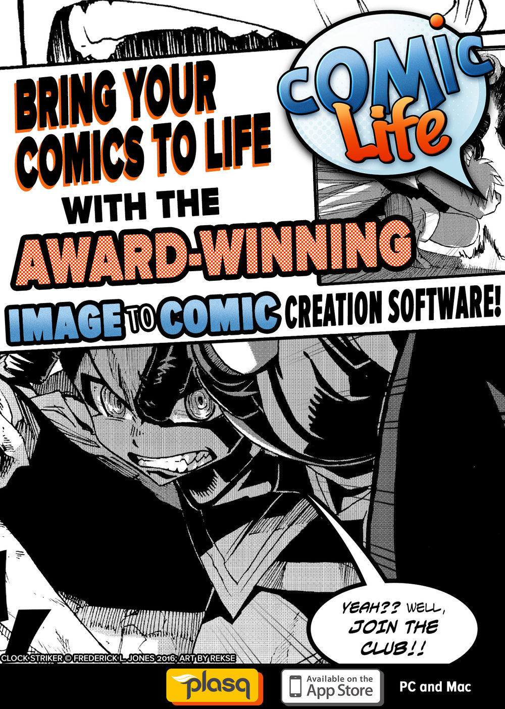 CLOCK STRIKER not only uses the COMIC LIFE app for lettering but stars in this ad.