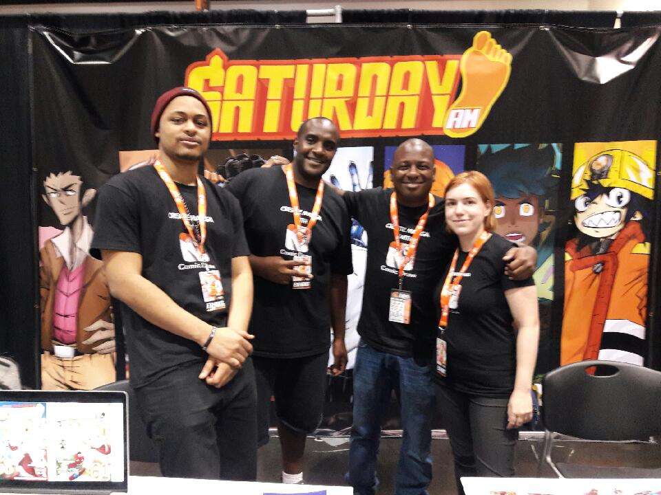 From left to right ( Whyt   Manga  (Apple Black),  Raymond Brown  (Bully Eater),  Frederick L. Jones  (Publisher), and  Andrea Otilia Voros  (Saigami)