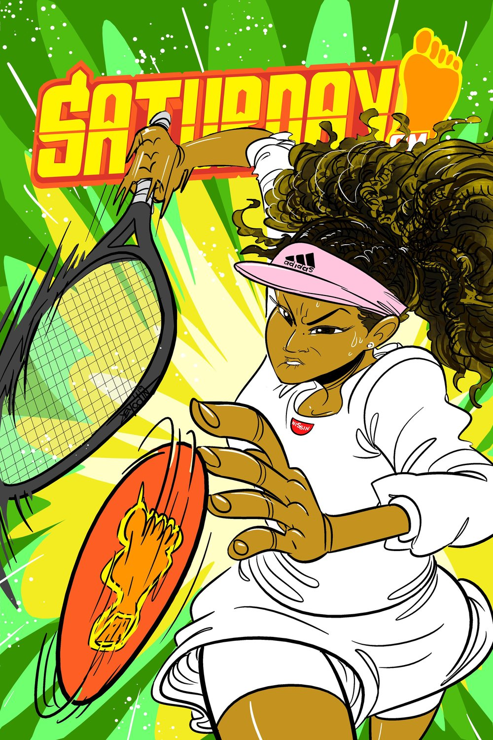 We would KILL for a Naomi Osaka manga with her AS SHE IS. This mock-up was done by the incomparable JEYODIN, creator of our HIT Series    HAMMER    in Saturday AM magazine.