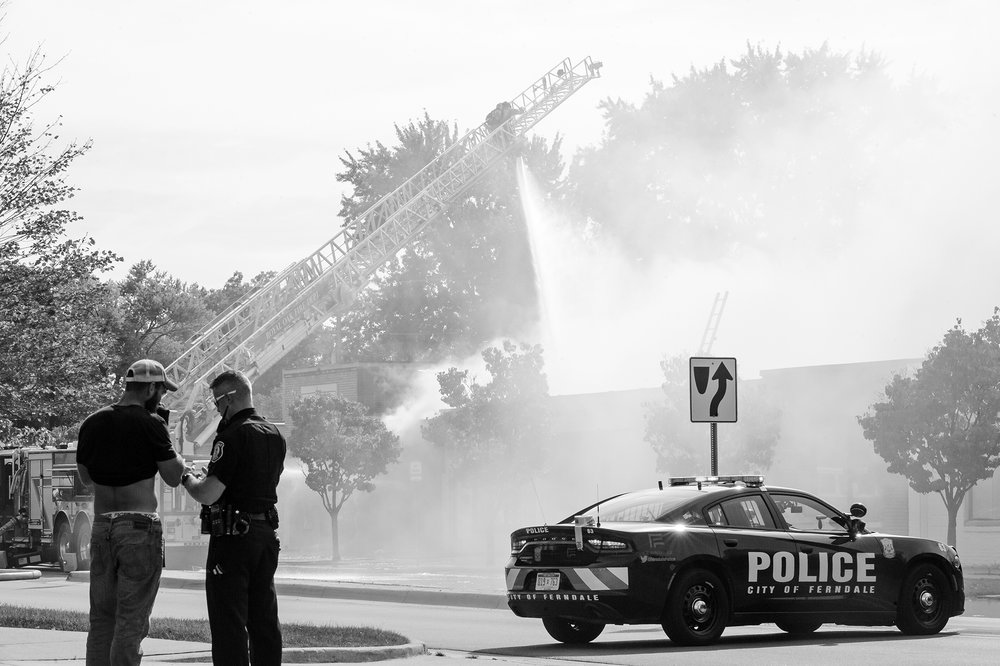detroit air and electric tool; ferndale; photographer; photojournalism; news; detroit; hazel park; department; police; scene; urban; street; michigan; andrew potter; professional; journailst; journalism