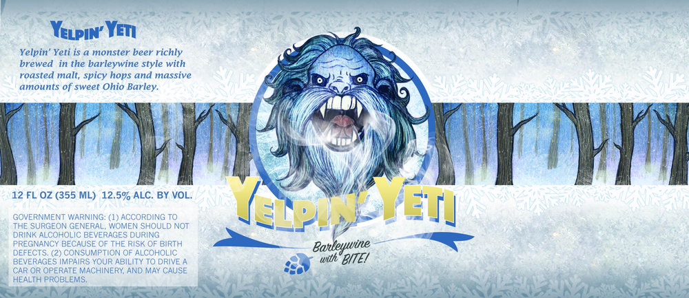 """Yelpin' Yetti"" - Small Batch Beer Label"