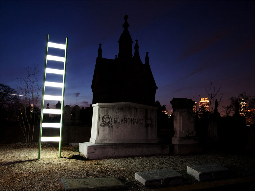Ladder standing at Oakland Cemetery,Atlanta, GA