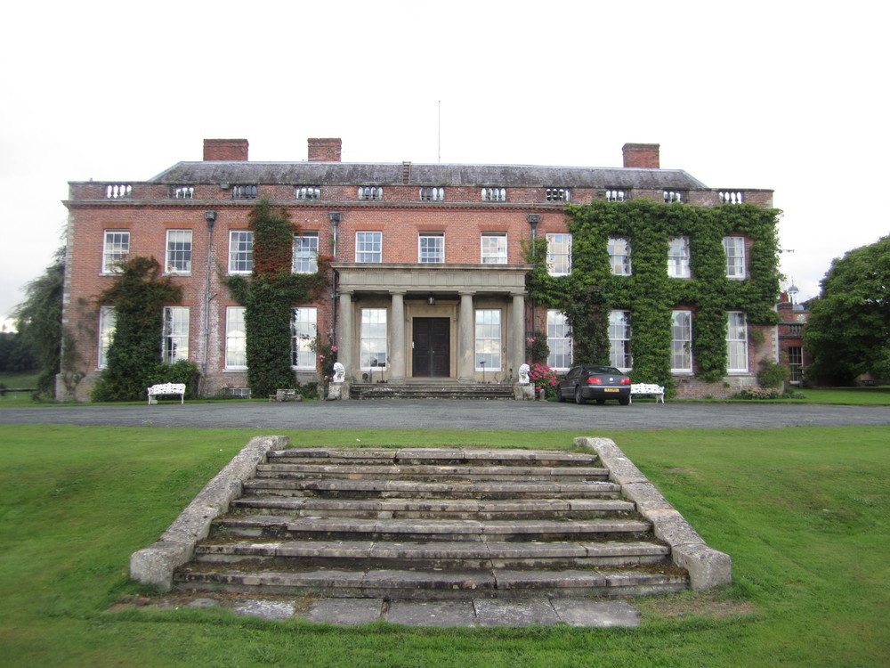 Front façade of the main residence at Walcot Hall. The part of the property is open only for special events like weddings. All other times it is closed as a private residence of the Parish family (owners) who live on site and manage the property.