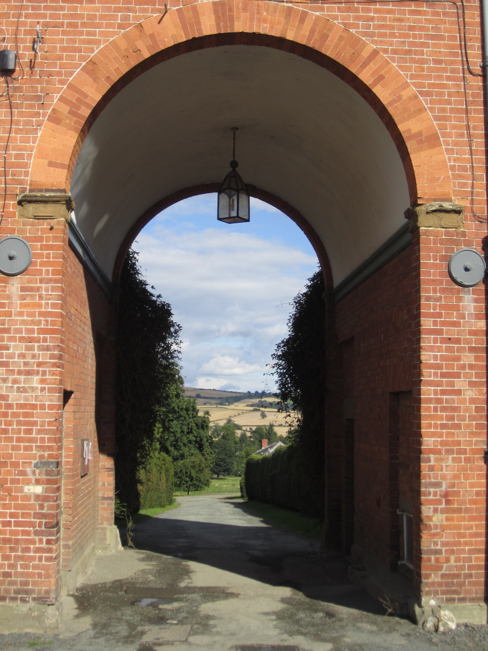 View through the arched entryway into the stable courtyard. This was one of my favorite vistas on the property. A zoomed-in view is below.