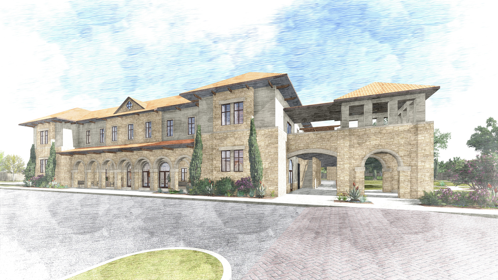 Conceptual rendering of the front façade of the proposed Parish Activity Center.