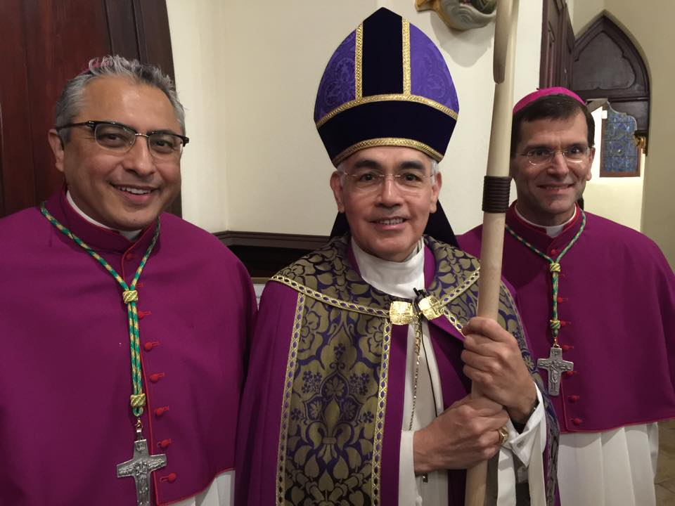 from left to right: [Then] Auxiliary Bishop-elect Danny Garcia, Bishop Joe Vásquez, and Bishop Mike Sis of San Angelo, at Vespers at St. Mary's Cathedral the night before the ordination.