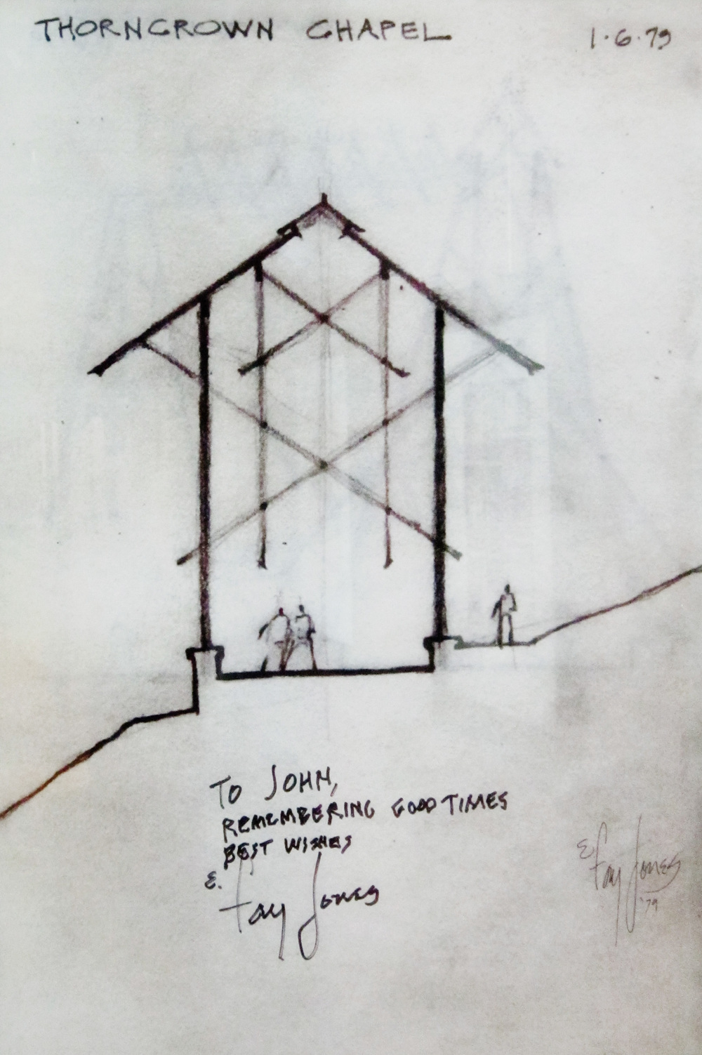 Signed sketch from Jones to his student, our own John C. Jackson, AIA.