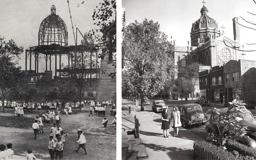 St. Mary of the Angels, Chicago during construction in 1911 (left) and in the 1940s (right). Photos from John Chuckman.