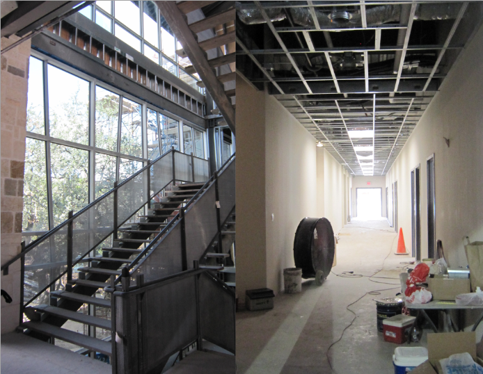 The central stairwell and Kindergarten/ Pre-K hallway on the ground level