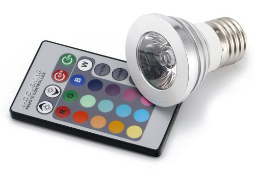 Remote control multi-color LED MR16, shown with Edison socket.