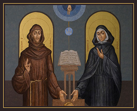 Icon of St. Jeanne Jugan & St. Francis of Assisi by George and Sergio Pinecross, copyright 2003. Reproduction without permission is prohibited by law.